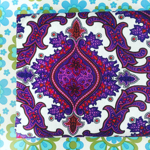 HUGE Beautiful Vintage Paisley RETRO Fabric BRIGHT Unused Upholstery