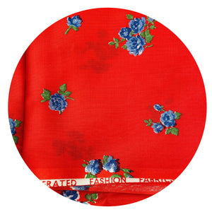 Cute RED Vintage Cotton Fabric Light Weight Quilting Patchwork