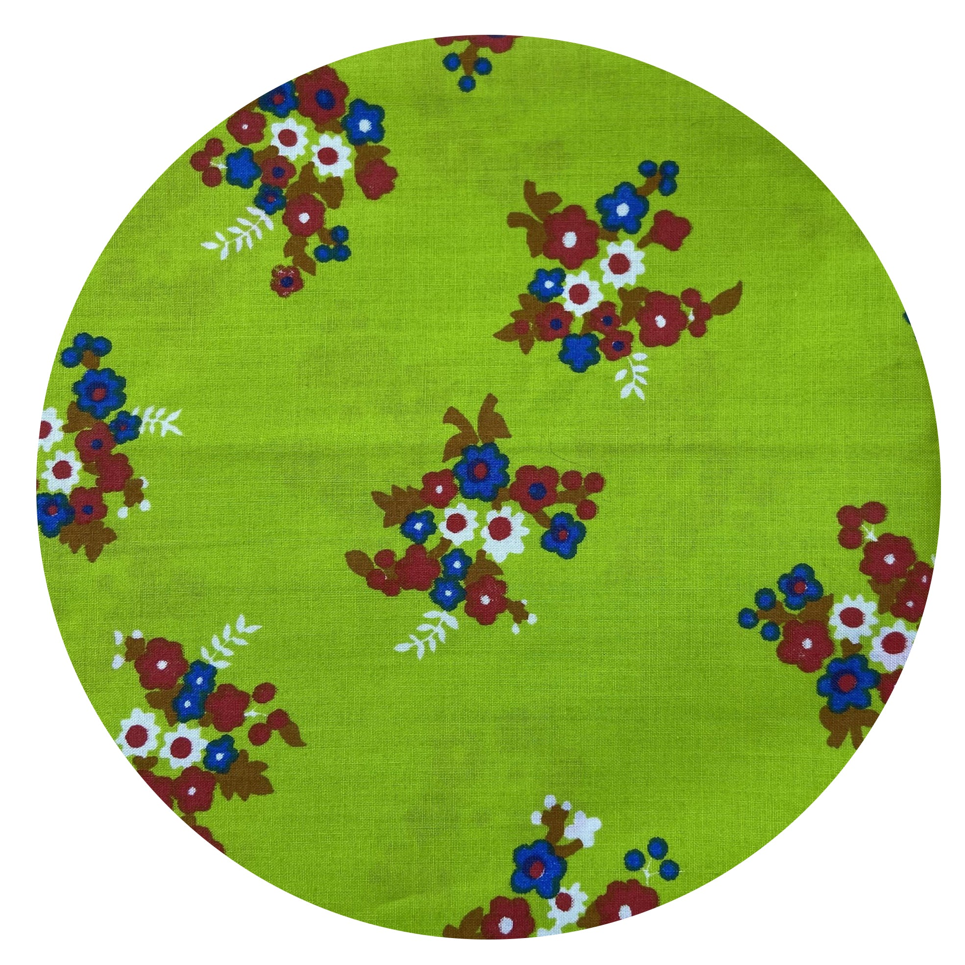 Stunning COTTON Vintage Fabric ~ Bright Green Floral CRAFT Sewing