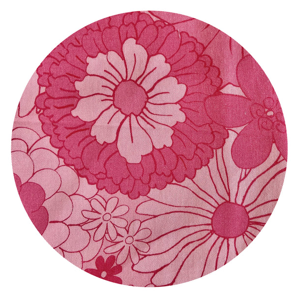 NEW 150cms WIDE Fabulous Cotton Fabric Floral Retro Design ~ Exclusive to Pink Peacock