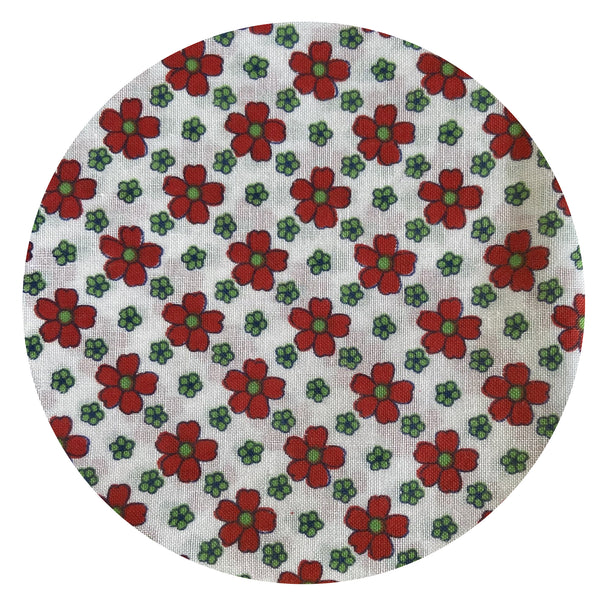 Beautiful Floral Fabric COTTON Red & White Sewing Craft