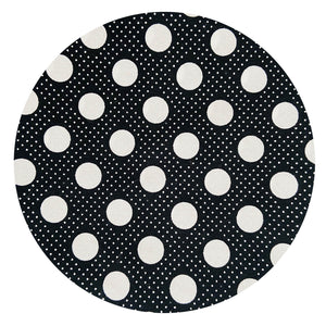 180cms Vintage 80's Cotton Fabric Quilting Sewing Projects Black Polka Dots
