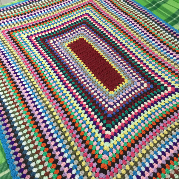 CROCHET Bright UNUSED Blanket Children's Bedroom RETRO HOME