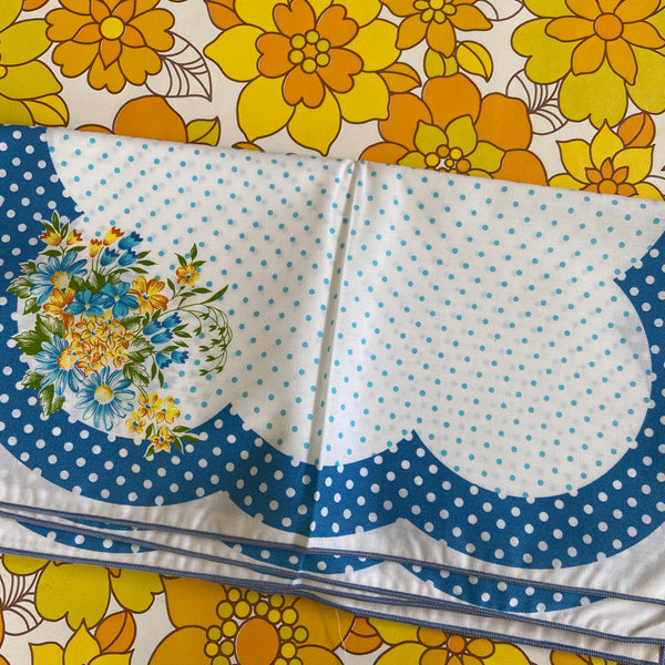 Cute Vintage Cotton NAPKINS Floral Blue & White Vintage Dinner Party