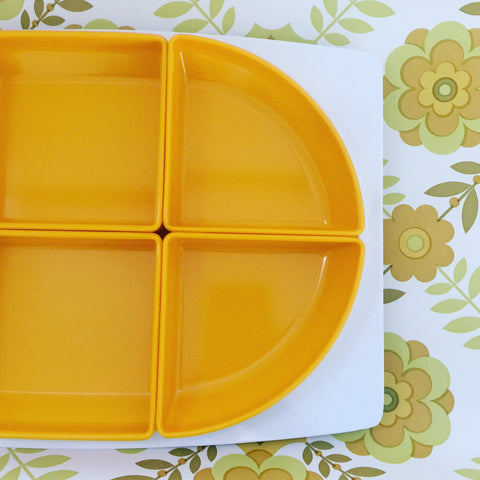 Bessemer UNUSED Snack Platter RETRO Yellow Funky