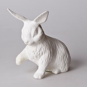 Bone China Sitting Rabbit LAMP - Pink Peacock  - 1