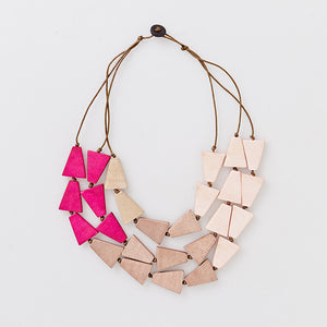NEW Love Triangle 3 Layer Pink Necklace - Pink Peacock