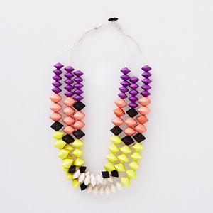 NEW Spun 3 Layer Wisteria Combination Necklace - Pink Peacock