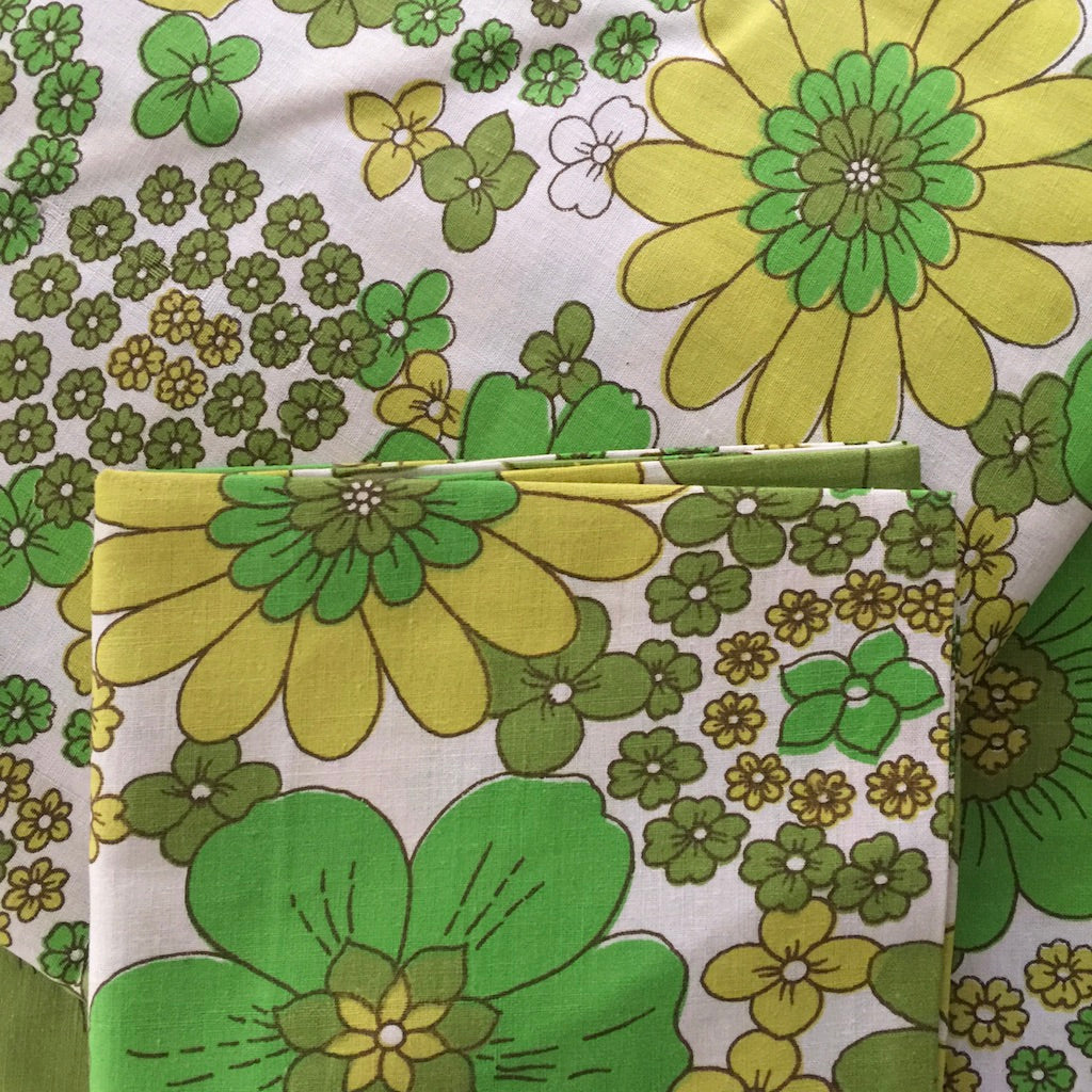 UNUSED Green FLORAL Cotton Sheet SET 70's BOLD Floral
