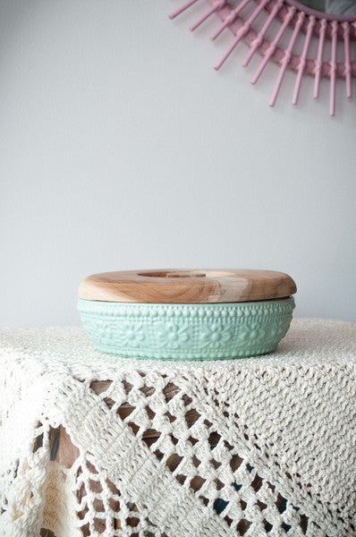 EMBOSSED FLOWER BOWL - LIME Small ~ Vintage Inspiration - Pink Peacock  - 6