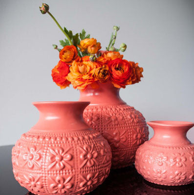 Large EMBOSSED Flower Vase - CORAL - Pink Peacock  - 1