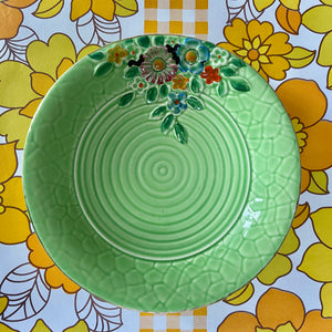 CROWN Devon Bowl VINTAGE Floral Green PRETTY