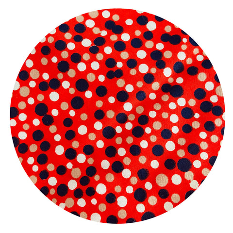280CMS HUGE All Cotton Vintage FAST COLOUR Red Polka Dot