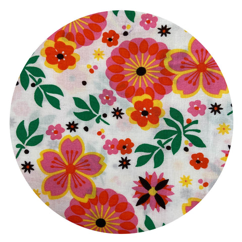 260cms Bright Unused Funky RETRO PRINT Floral Fabric