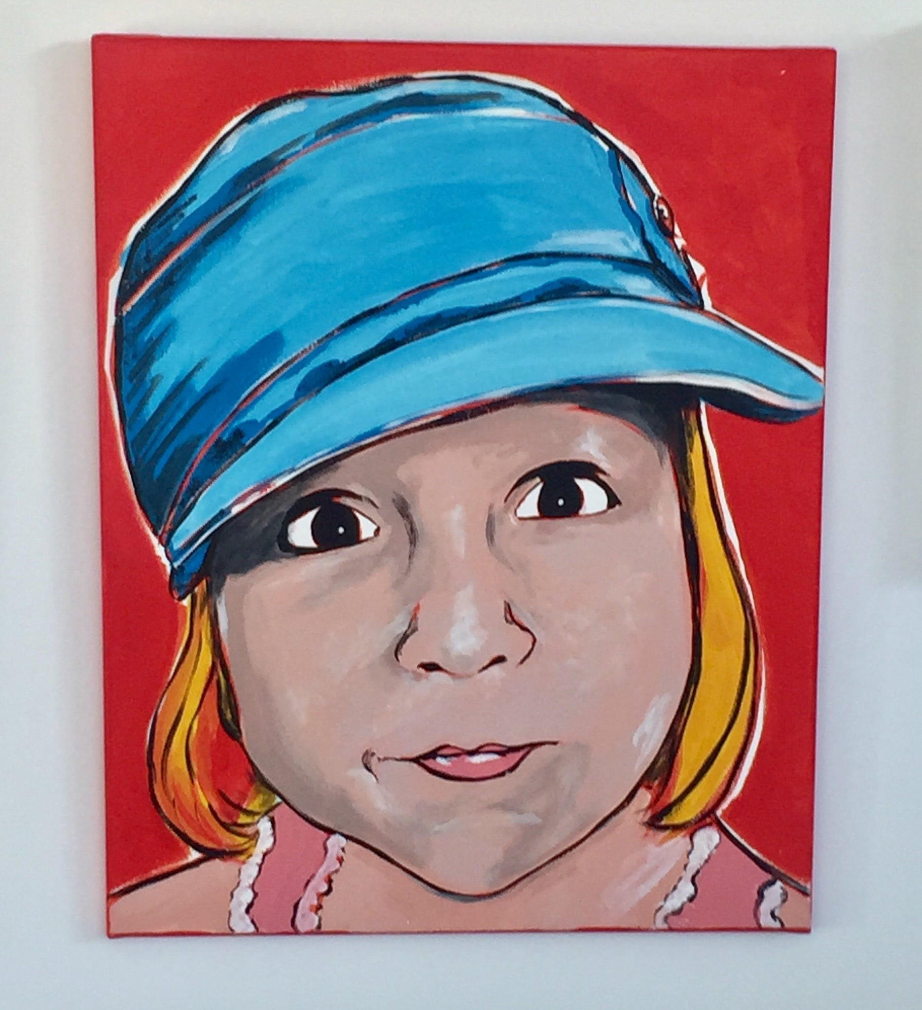 GIRL Pop ART Canvas ORIGINAL PAINTING One of a KIND Bright