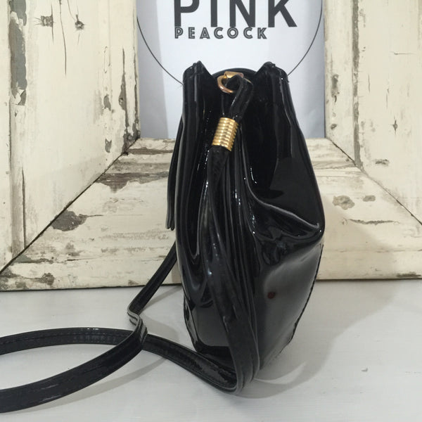 GOLD CREST Cool Black Patent Handbag 80's FAB Disco Evening Cocktail - Pink Peacock  - 3