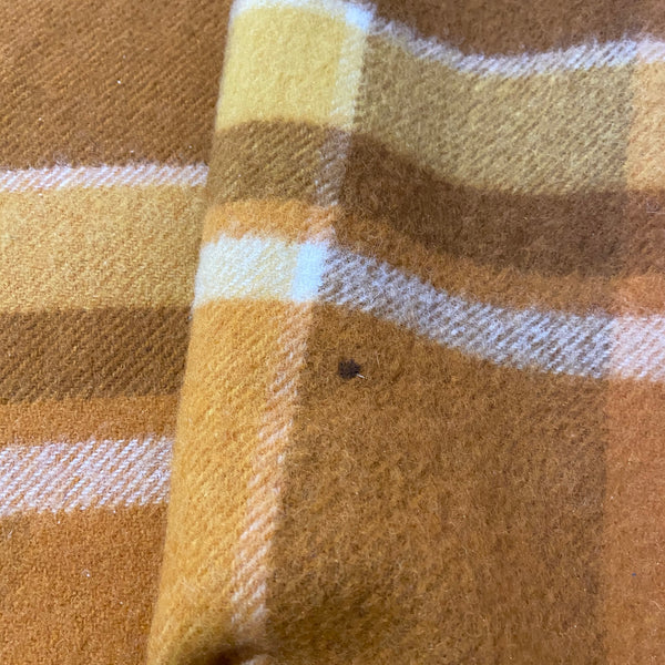 BOYS Bedroom Bright Wool Vintage Checked Brown Blanket 70's HOME