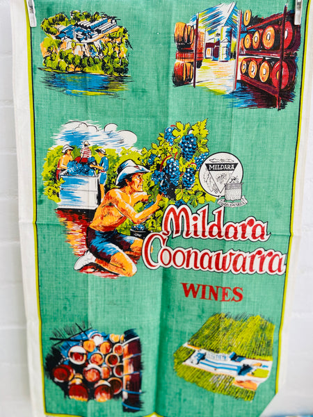 PURE LINEN Australia Coonawarra Tea Towel RETRO UNUSED