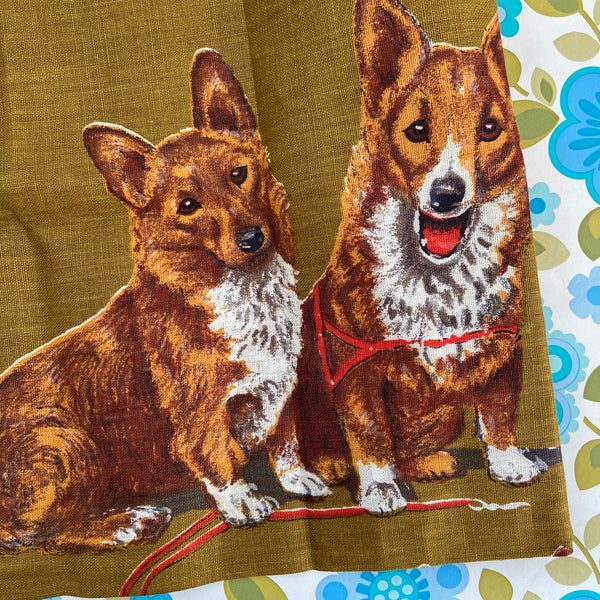 FAST Colours Linen Ireland Pair DOGS Vintage Collectable UNUSED