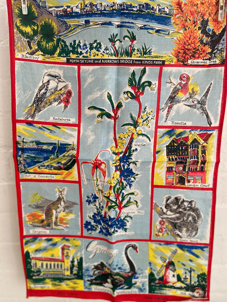 Western Australia Pure Linen Floral Collectable RETRO