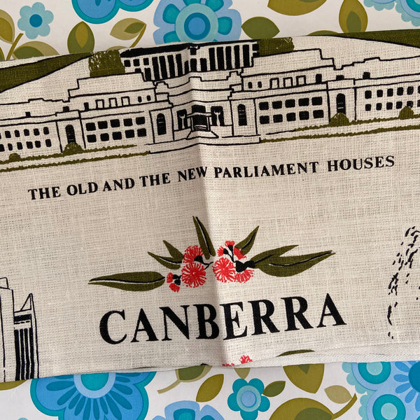 CANBERRA Pure Linen Tea Towel Collectable UNUSED