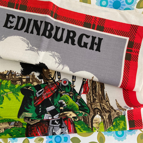 Linen Retro Tea Towel Vintage EDINBURGH Collectable