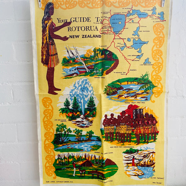 Linen Tea Towel Collectable UNUSED New Zealand Vintage