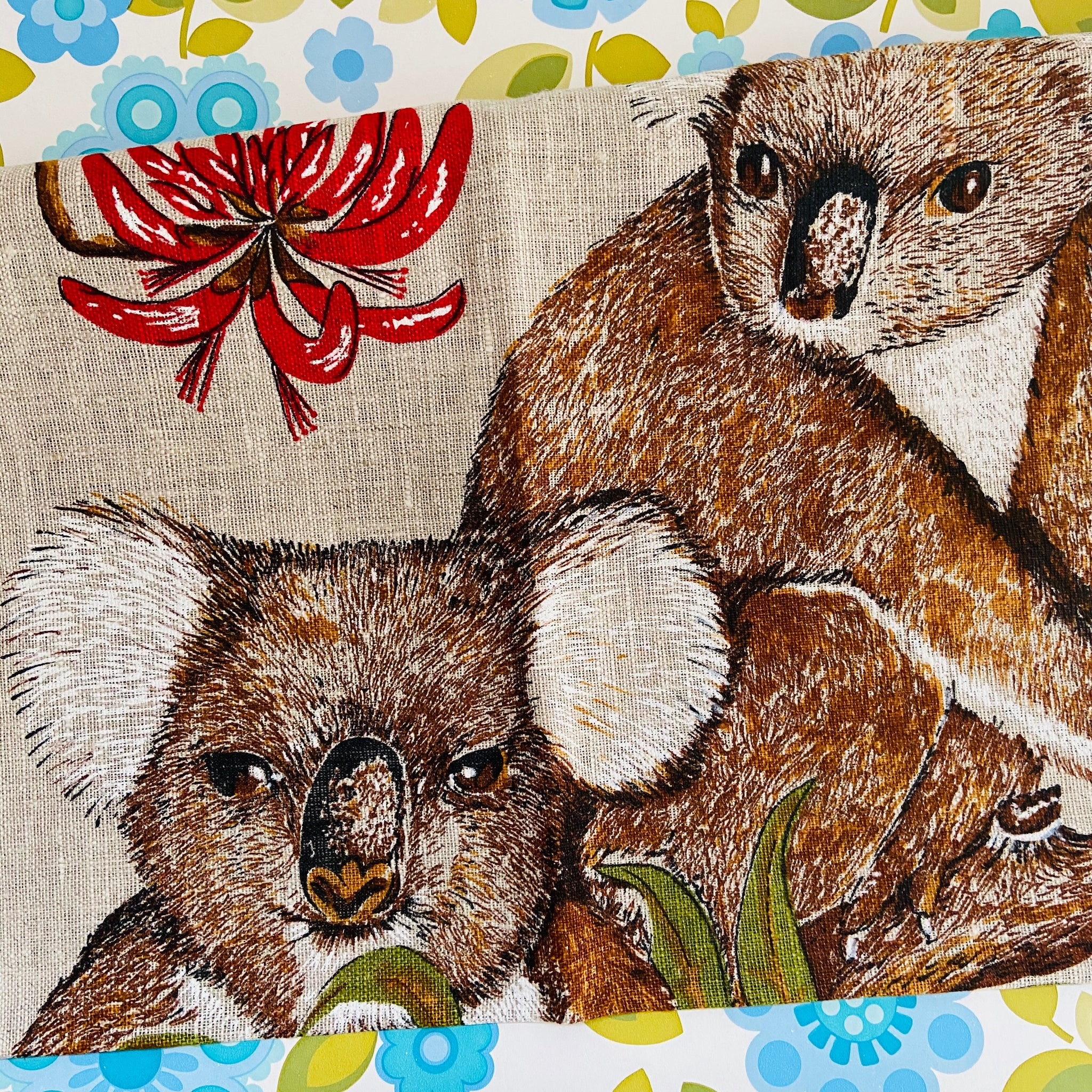 Linen KOALA Collectable Vintage Tea Towel Fast Colours