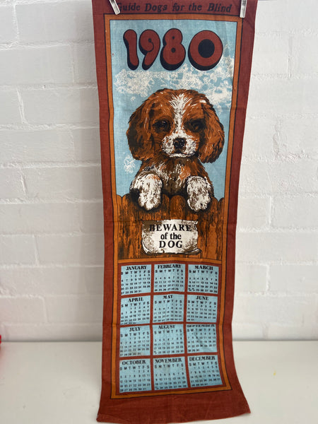 1980 Retro Calendar Hanging Dog Vintage Home Up Cycle