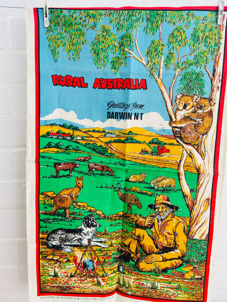 DARWIN Rural Australia UNUSED Vintage Collectable Tea Towel