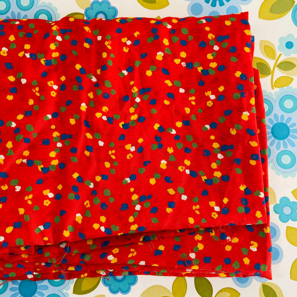315cms Red Polka DOT Silk Vintage RETRO Huge Sewing Dress Fabric