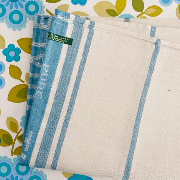 Striped Blue & White IRISH Linen Crisp UNUSED RETRO Kitchen