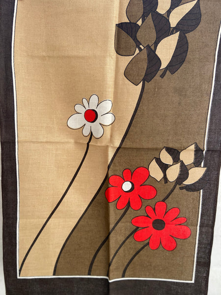 RETRO Unused Tea Towel Floral Bold Print Pattern
