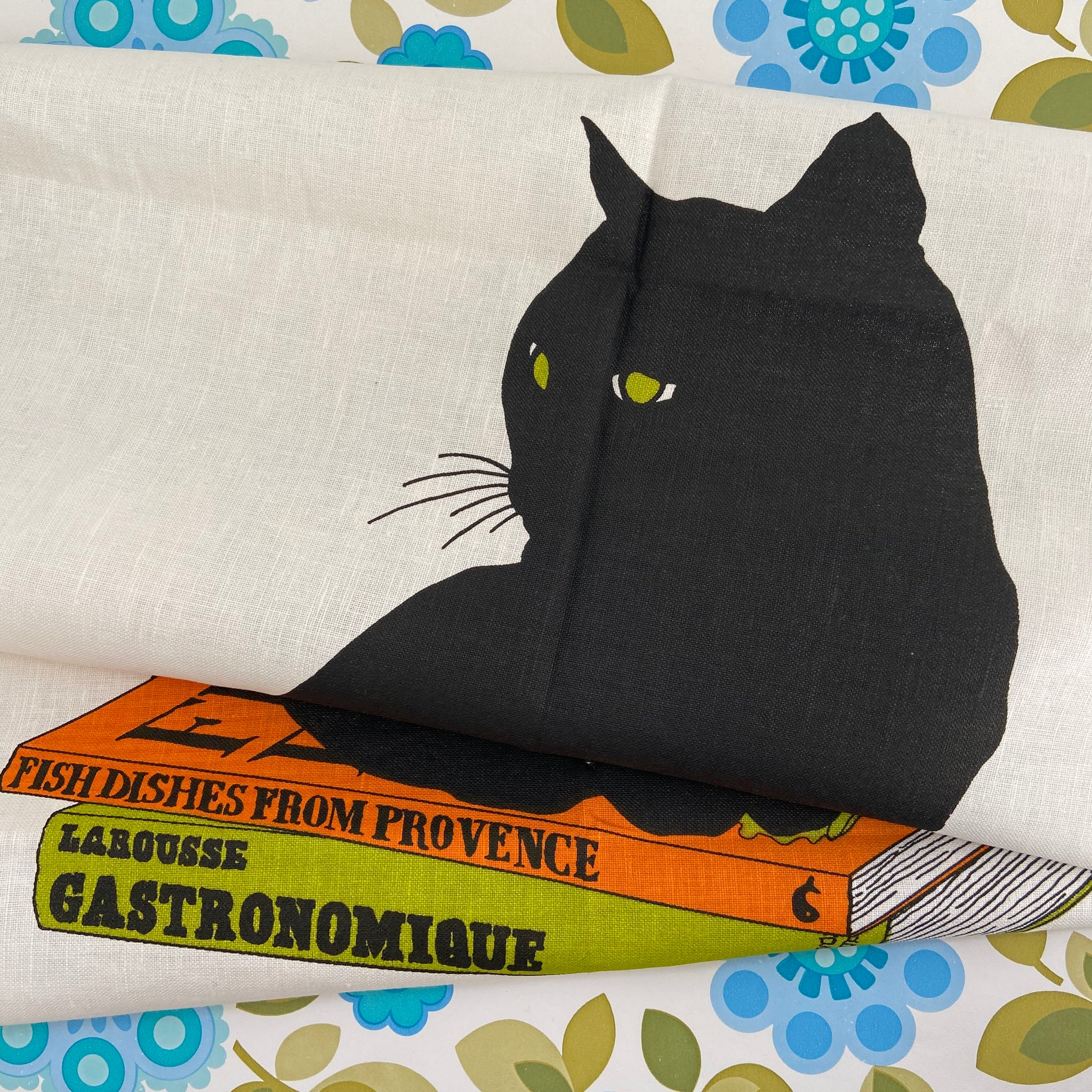 Black Cat Linen Irish Tea Towel UNUSED Wall Hanging