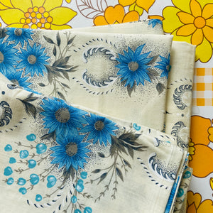 UNUSED All Cotton Vintage Floral Sheet Craft Sewing BLUE