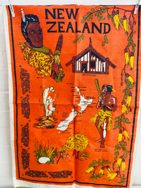NEW ZEALAND Vintage Retro Tea Towel Pure Linen Hand Printed