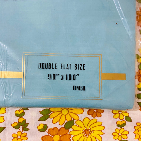 Made in Japan NO IRON Bright Blue/Aqua Sheet DOUBLE