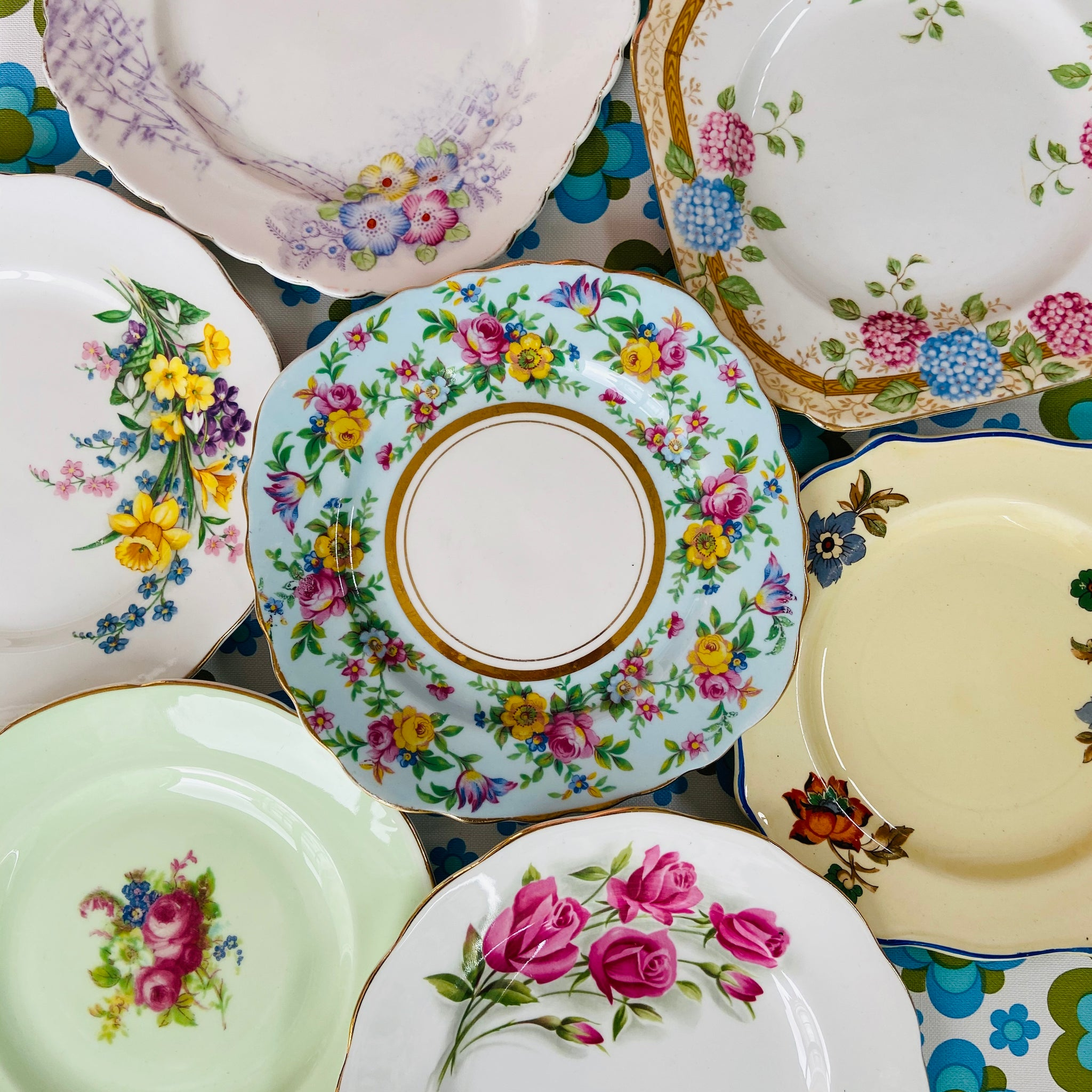 SWEET Mismatched Vintage China Plates FLORAL 50's 60's Shabby Chic HIGH TEA