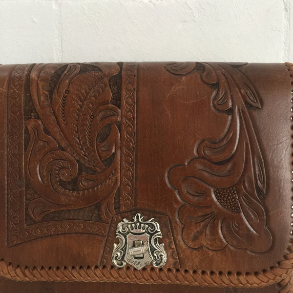 GORGEOUS Tooled Handbag LEATHER Boho Hippy 70's Chic