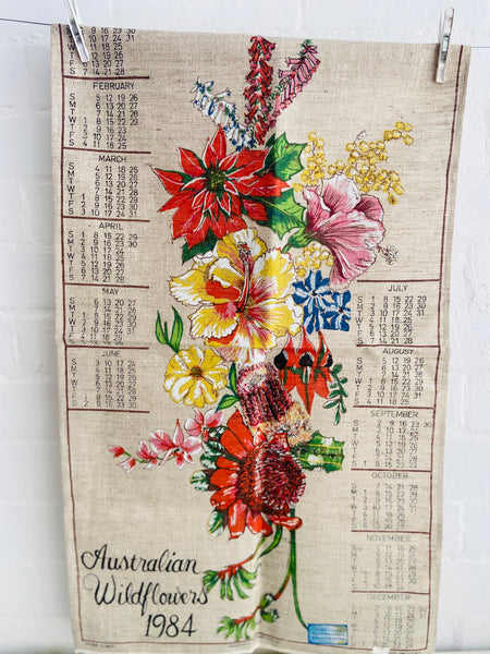 UNUSED Vintage Retro Tea Towel Australian WILDFLOWERS 1984