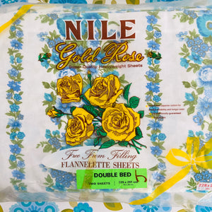 NILE Flannelette Sheets Double Bed Two Sheets RETRO Floral