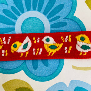 Ribbon Birds RETRO Trim Fabric 70's Kitsch Craft