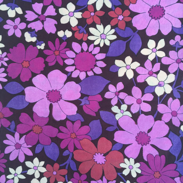 FUNKY Bright Purple Retro Floral Fabric Allan Robison CRAFT
