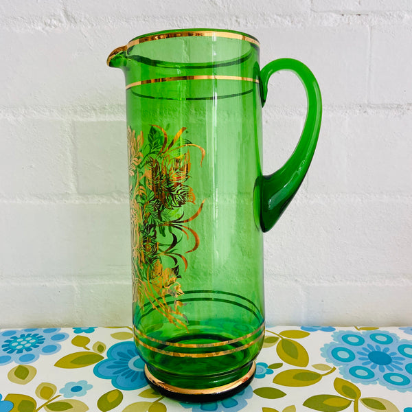 Large Green Glass Gold Embossing Leaf Print Retro Dinner Party