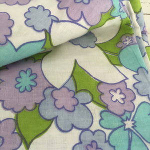Retro COTTON Sheet FABRIC Floral UNUSED Print