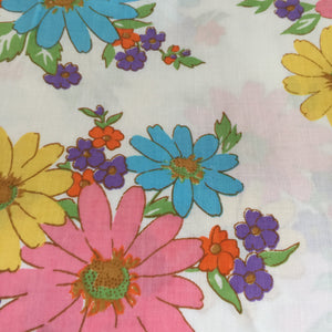 VINTAGE Cotton SHEET HUGE Bright & Clean Fabric FLORAL
