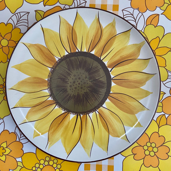 MEXACAL Stoneware Plate VINTAGE Yellow Floral DISPLAY Serving