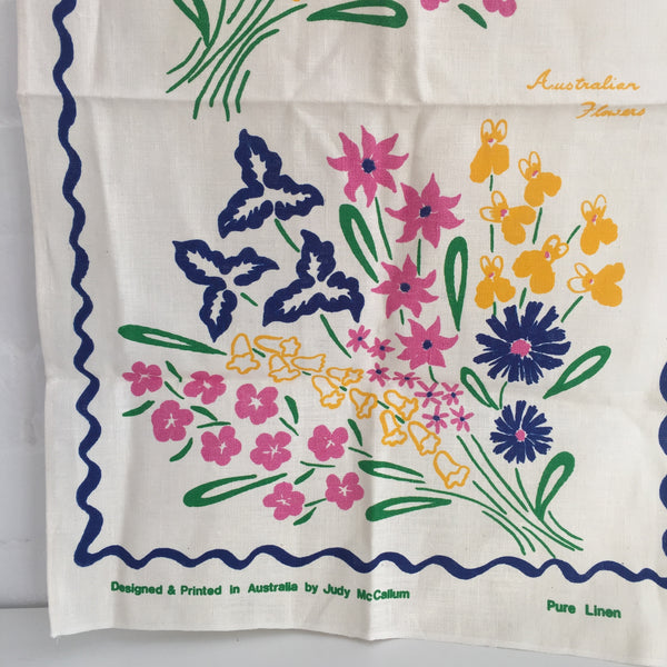 JUDY McCallum Tea Towel PURE LINEN Collectable Souvenir FLORAL