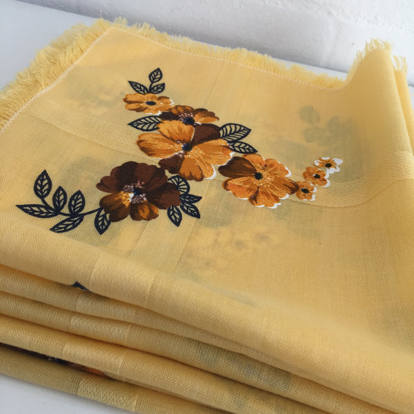 SET OF SIX Serviettes FLORAL Fabric 50's KITSCH Cotton