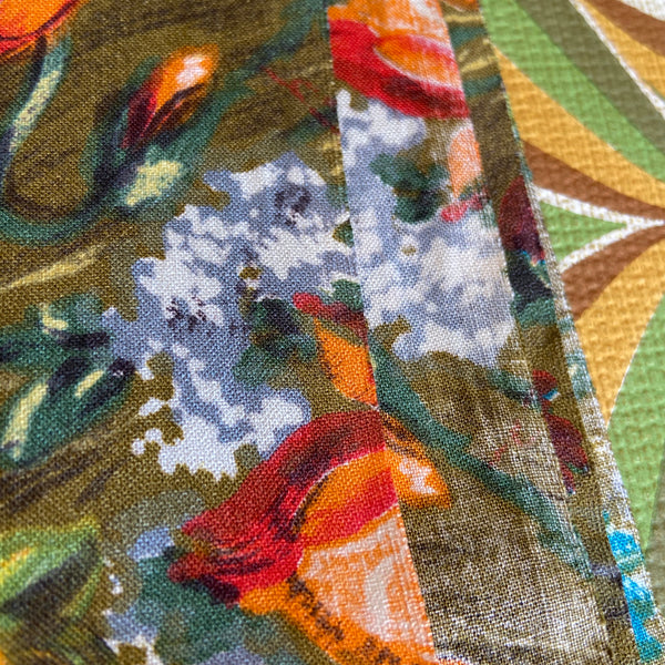 Vintage Apricot & Greens Floral 60's FABRIC Large Print CUSHIONS 260cms